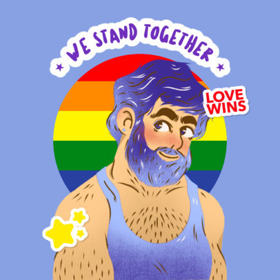 Illustrated Twitch Emote Logo Creator Featuring an LGBT Message 4286b