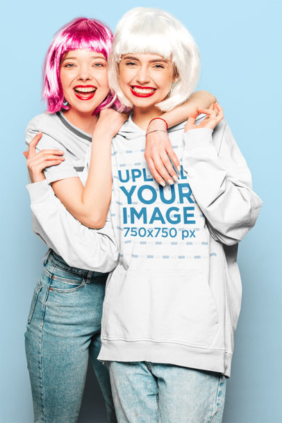 Pullover Hoodie Mockup Featuring Two Women with Colorful Wigs m4805-r-el2