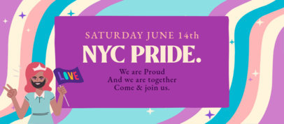 Facebook Cover Maker to Celebrate LGBT Pride Day Featuring a Character Holding a Flag 3609d