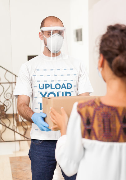 T-Shirt Mockup Featuring a Delivery Man Handing out a Box 44186-r-el2