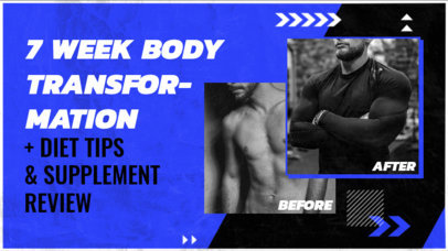 Fitness-Themed YouTube Thumbnail Design Maker Featuring Before and After Pictures 3641