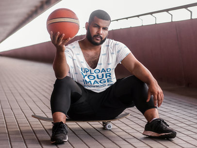 V-Neck T-Shirt Mockup Featuring a Street Basketball Player 38970-r-el2