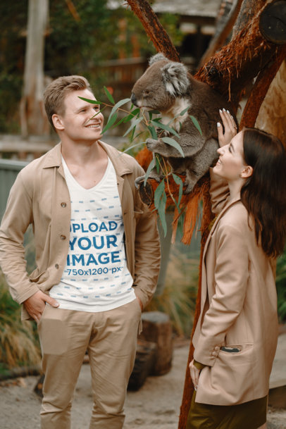 V-Neck Tee Mockup of a Happy Man Posing by a Koala 44505-r-el2