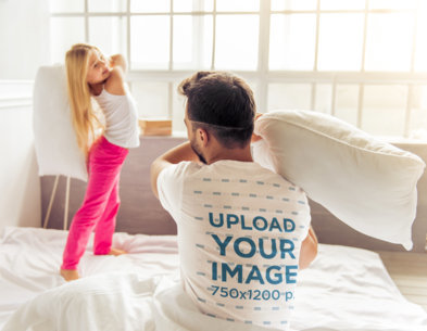 T-Shirt Mockup of a Man in a Pillow Fight with His Daughter 46440-r-el2
