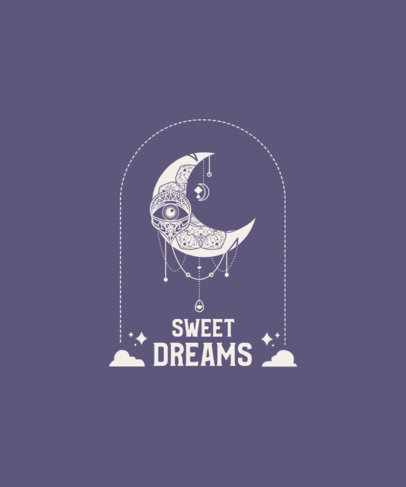 T-Shirt Design Template Featuring a Quote and an Esoteric Moon Clipart 3860e-el1