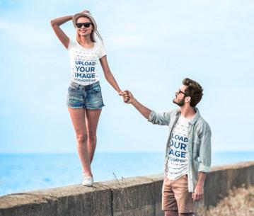 T-Shirt Mockup Featuring a Joyful Couple Walking by the Beach 44932-r-el2
