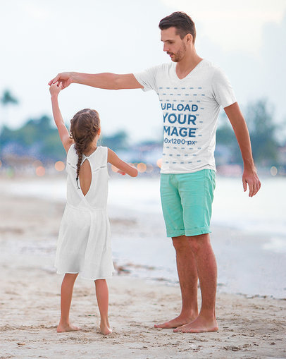 V-Neck T-Shirt Mockup Featuring a Father Dancing With His Daughter at the Beach m6657-r-el2