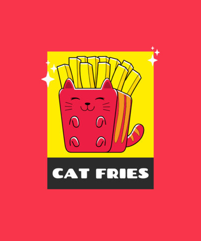 Cute T-Shirt Design Generator Featuring a French Fries Cartoon 3530a-el1