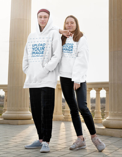 Hoodie Mockup of a Cool Young Couple Posing m4290-r-el2