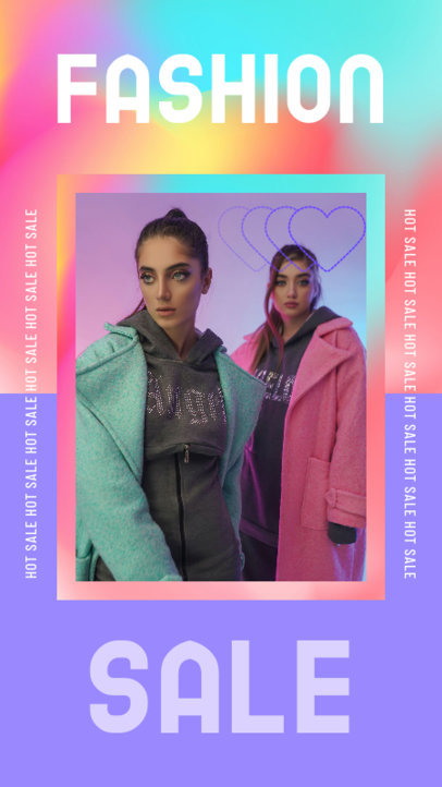 Instagram Story Maker for a Fashion Sale Featuring a Holographic Styled Frame 3631g