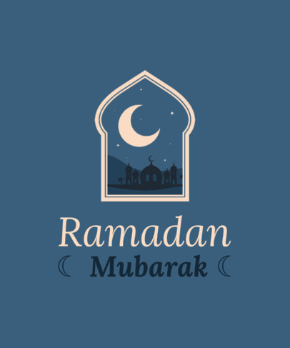 Quote T-Shirt Design Generator for Ramadan Featuring a Crescent Moon Graphic 3615c