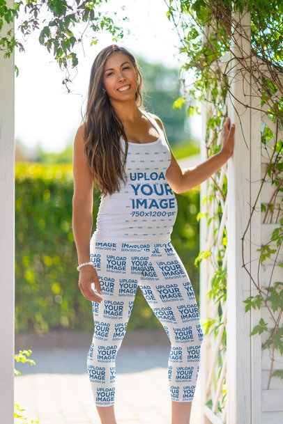 Tank Top and Leggings Mockup Featuring a Happy Pregnant Woman Posing 39581-r-el2