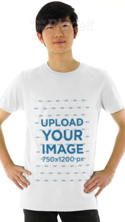 Basic T-Shirt Video of a Young Man Posing Against a Plain Background 3203v