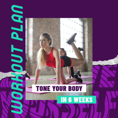 Instagram Post Design Generator for Fitness Profiles Featuring a Workout Plan 3635b