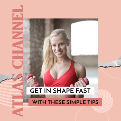 Instagram Post Design Template Featuring Fitness Tips and a Modern Style 3635f
