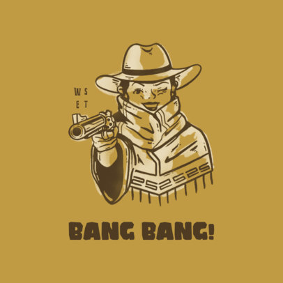 Illustrated Logo Maker for Clothing Brands Featuring a Wild West Bandit 4299g