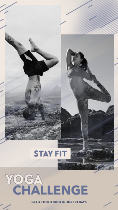 Yoga-Themed Instagram Story Design Template Featuring a Challenge 3637b