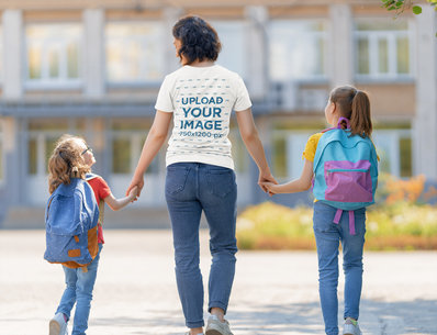 T-Shirt Mockup of a Mom Holding Her Girls' Hands While Walking to School 44283-r-el2