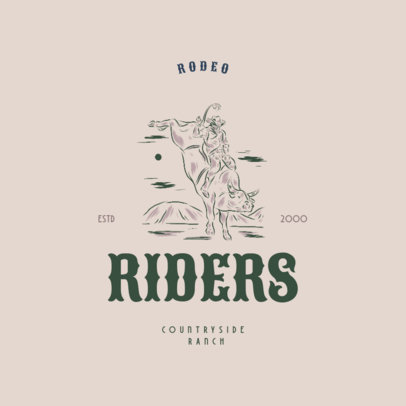 Logo Creator for a Countryside Ranch Featuring a Rodeo Cowboy Illustration 4295j