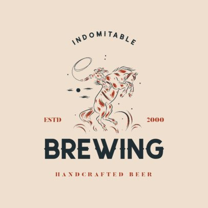Hand-Crafted Beer Logo Template with Vintage Western Illustrations 4295q