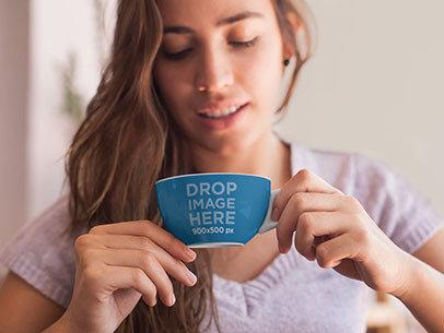 Cup Mockup of a Young Woman Having a Cup of Coffee a7025