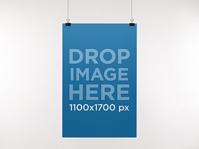Paper Poster Mockup Hanging From a Wall a10323