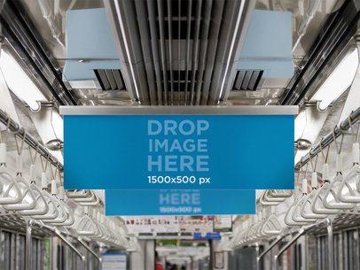 Horizontal Banner Mockup Inside a Subway Car a10460