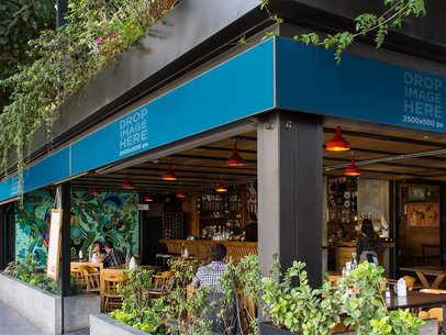 Horizontal Banner Mockup at a Restaurant a10625