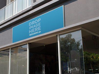 Horizontal Banner Mockup at an Office Entrance a10623