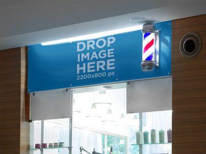 Horizontal Banner Mockup at a Barber Shop a10595