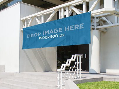 Horizontal Banner Mockup Hanging From a Library's Entrance a10633