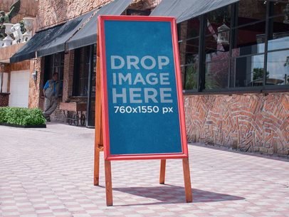 Banner Mockup on the Street Outside a Restaurant a10861