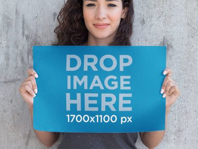 Mockup Template of a Beautiful Girl Holding a Poster a10415
