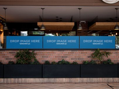 Three Horizontal Banners Mockup at a Restaurant a11319