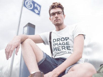 T-Shirt Mockup of a Hipster Guy Wearing Denim Shorts a11531