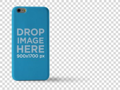 iPhone 6 Case Mockup Standing Over a White Background a10235