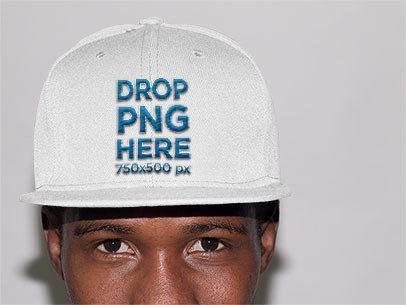 Trendy Black Guy in a Studio Wearing a Snapback Mockup a11777