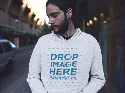 Hipster Man with Long Hair and a Beard Wearing a Heather Pullover Hoodie and Looking Away a12601