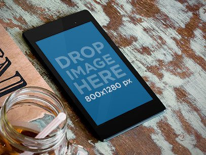 Samsung Nexus 7 Black Portrait Over Textured Table