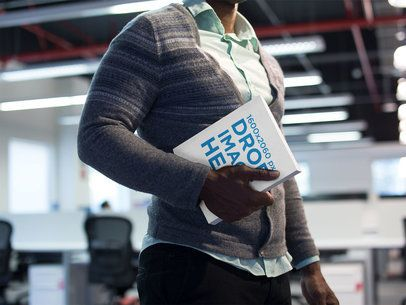 Ebook Cover Mockup of a Young Black Man at a Corporate Office a14503-032817