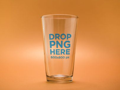 Template of an Empty Pint Glass Against an Orange Background a14657