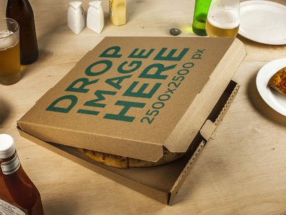 Pizza Box Template Lying on a Table Just Before Dinner Time a14796